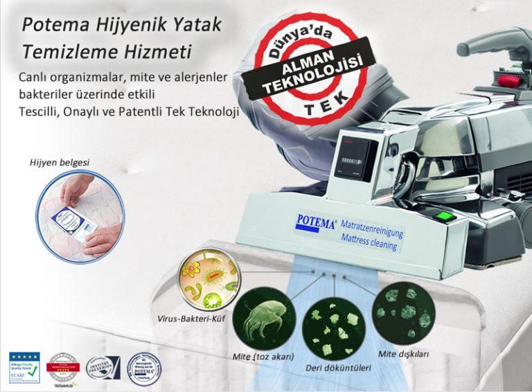 potema yatak hijyeni temizligi bakteri virus mite alerjen temizleme